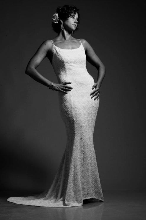 White goergette gown