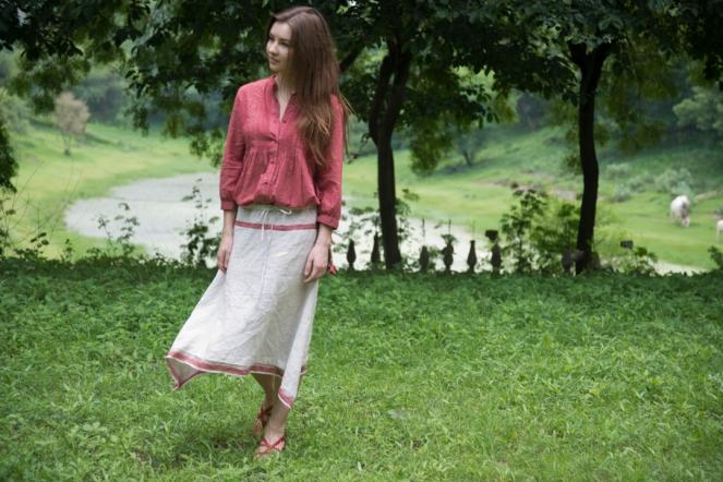 pepper khadi top and mustard linen skirt