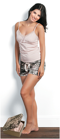 PEGGY cotton singlet paired with stain floral boy shorts Gingerlily Sleepwear