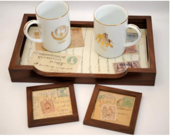 old stamp & postcards coasters and tray