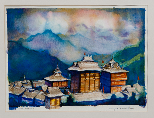 Evening at Bhimakali 14 X 19in