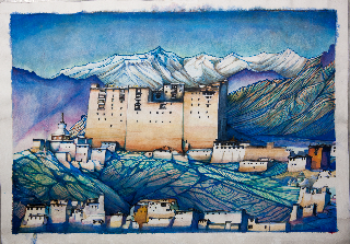 Leh Palace in Morning Glow 30 X 21 in
