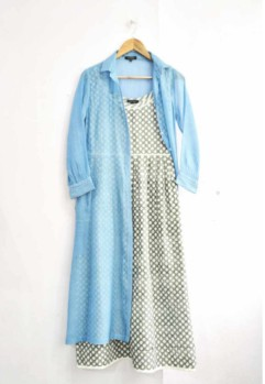 artisua dress with blue sheer jacket
