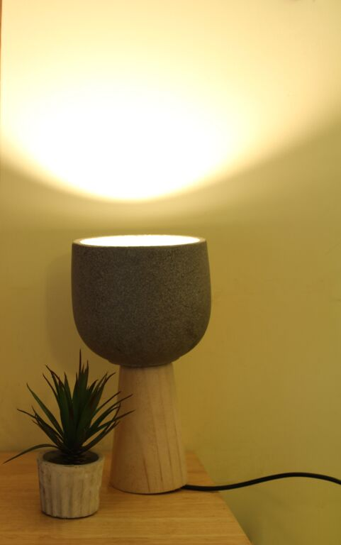 cement lampshade and woodden base