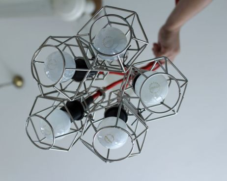 hexagonal caged lamps